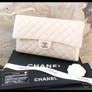 Chanel 18S Ivory Caviar Leather CC Flap Clutch